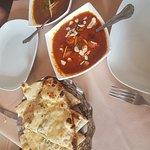 lamb rogan josh and jaipuri curries and garlic naan