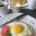over cooked omelet & Croque madame