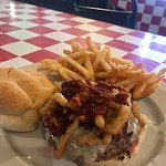 I believe this was the smokehouse burger (crispy onion straws, cheese, bacon and bbq sauce)