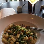 Gnocci with sweet peas in pureed onion broth