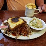 Pulled pork platter with cole slaw and mac and cheese