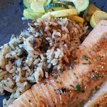 Pan-seared Trout with zuchini and wild rice