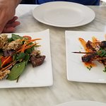 chick skewers and beef slaw