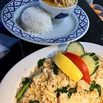 Thai fried rice, chicken red curry, Thai satay and peanut sauce. lunch special package Including