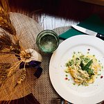 Handmade tagliolini with asparaguses and basil oil