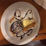 Een prachtig dessert gemaakt speciaal voor ons met onze initialen