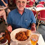 Pasta carbonara and a large beer, what could be better!