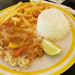 Jerk Fish With Fries And Coconut Rice