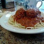 Spaghetti, house-made meatballs and sauce.