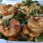 Garlic Shrimp and Pad Thai