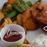 """Kids Menu - Malli's Chicken """"Schnitzel"""" with homemade Potato Wedges, grilled mixed vegetable"""