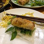 Spring rolls - deep fried spring rolls wrapped inside fresh rice paper with rice noodles & mint
