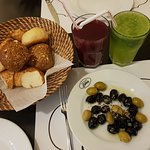 Assorted Olives, a Lemonade and a Pomegranate Juice