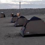 Tent camping with toilets.