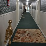 Carousel horses line the hallway