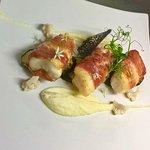 Fresh Monkfish wrapped in parma ham with vanilla & cauliflower purèe