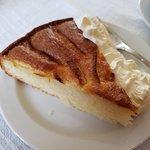 Warm apple cake with cream. Fantastic!