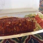 Amazing pork burrito with red chile sauce!
