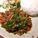 Stir fried beef fillet with Thai herbs and fresh basil.