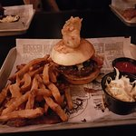 Moose burger (with fried pickle).