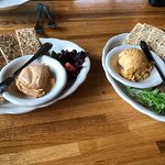 Smoked Trout Dip (left), Cheese Tray (right)