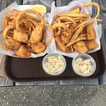 Haddock pieces, onion rings and slaw