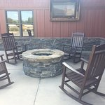 Fire pit with TV attached to main office