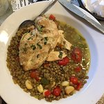 Stewed lentils + grilled chicken with tomatoes and garlic cloves