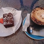 tasty brownie, good cappuccino
