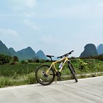 my bike along the Yulong river