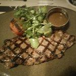 sirloin steak with black peppercorn sauce