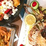 Greek salad, fried baby shrimp, grilled squid at Ammos Naxos