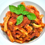 NDUJA & RED ONION Casarecce pasta, Spicy soft sausage, red onion, tomato sauce & basil