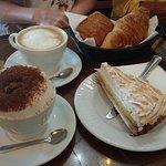 Lemon meringue tart with a cappuccino for breakfast..mmmm!