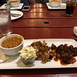 My 2 meat combo plate and baked beans