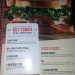 lunch menu page at Tilted Kilt