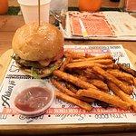 Cheeseburger + sweet potatoes + pomegranate ketchup