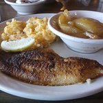 My fabulous catfish dinner a whole 8.50 for all this food plus 2 huge country biscuits
