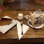 Caramel cake and pot of tea-so yummy!