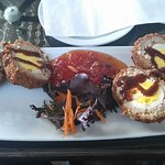 Scotch Eggs with Tomato Jelly (and steak sauce)
