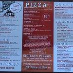 Menu - pizzas and calzones