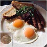 American breakfast and oatmeal