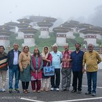 108 Chortens of Dochula pass, partially covered with fog