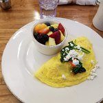 Spinach Omelet with side of fruit