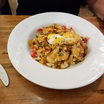 Crab Hash with Poached egg