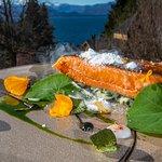Trucha Patagónica, Emulsión de rábano picante, papas andinas  y algas marinas patagónicas,
