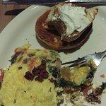 Greek omelette w/ plain bagel.