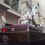 Paso of the Holy Friday procession in carrer Santa Ana starting in Santa Ana Church