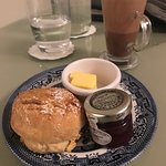 Late night scone, jam and hot cocoa