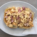 Scrambled egg & bacon on brown or white Tigar bread. £3.95